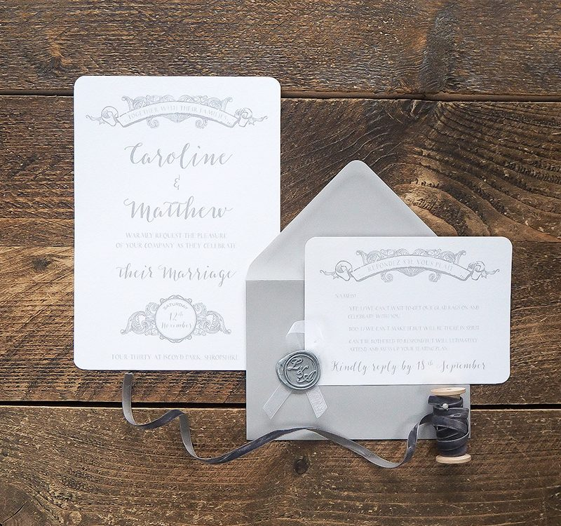 Elegant grey wedding invitations