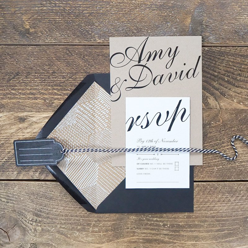 Rustic, Kraft Card Wedding invitation and RSVP card